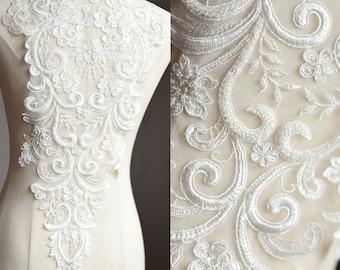 LARGE Heavy beaded bridal Applique - IVORY - Venice lace beaded applique big size, Luxury wedding appliqué, Illusion back appliqué