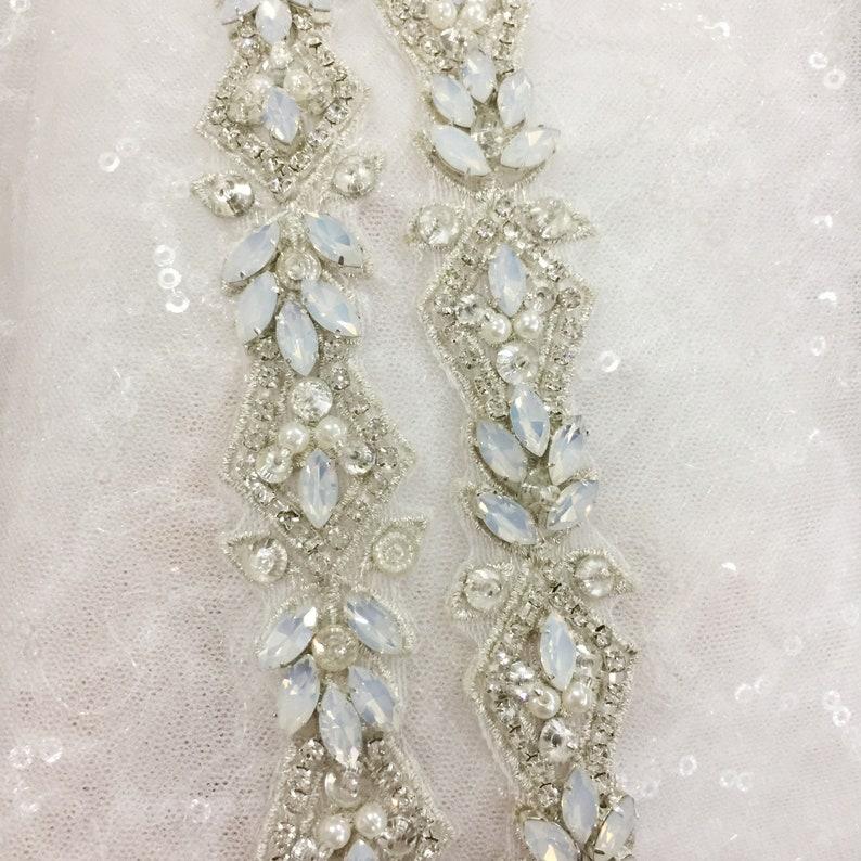 a0d6374ad385f Luxury Thin Opal Silver Embroidered Rhinestone Beaded Trim for Bridal Belt  Wedding Dress Sash