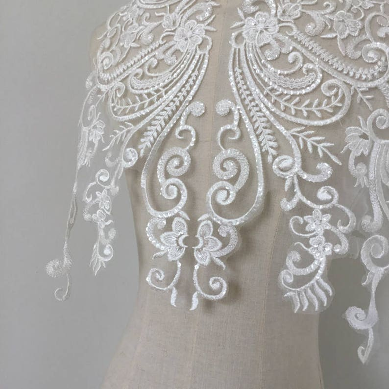 Large Clear Sequin Bridal Gown Embroidery Lace Applique Wedding Dress Bodice Hem Train Veils Accessories