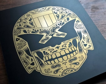 Day of the Dredd - Día de Muertos, Judge Dredd / Day of the Dead - Gold & Black Wall Plaque