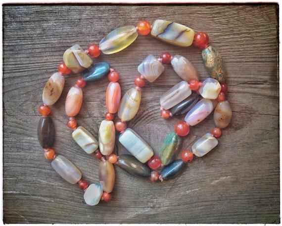 NATURAL AGATE necklace, gemstones necklace, vintag