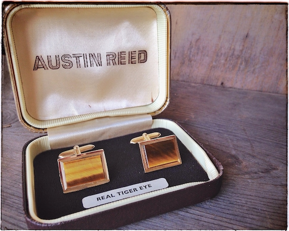 Tigers Eye Cuff Links Austin Reed Vintage Cuff Links Golden Etsy