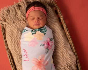 462671cd3543 Personalized Swaddle Blanket with Floral Print //Leilani's Hawaiian Floral  // Gifts for Baby // Newborn Photo Prop // Best Swaddling Blanket