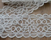 Lot of Victorian Vintage White Battenburg Lace Trims French Country Rustic Embellishments European Princess Woodland Wedding