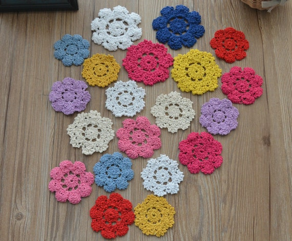 Set 8 Crochet Small Doilies Lot in bulk Country Party Wedding Embellishments
