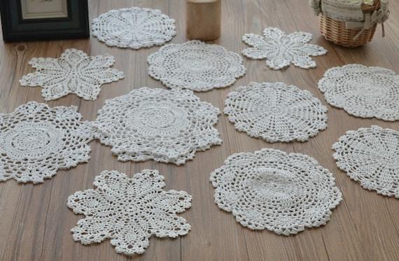 Lot 12 Hand häkeln weißen Deckchen Baumwolle Schneeflocke   Etsy