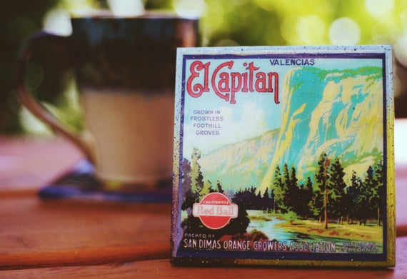 San Dimas California El Capitan Yosemite Orange Citrus Fruit Crate Label Print