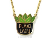 Plant Lady Necklace, Cute Charm Necklace, Pendant Necklace, everyday necklace, trending jewelry, Crazy Plant Lady, Hennel Paper Co.