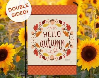 Hello Autumn Garden Flag - DOUBLE SIDED - Ready to Ship - Harvest Autumn Fall Farmhouse Welcome Flag Yard Decor Hennel Paper Co