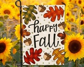 Happy Fall Garden Flag - DOUBLE SIDED - Ready to Ship - Plaid Leaves Harvest Autumn Farmhouse Welcome Flag Yard Decor Hennel Paper Co