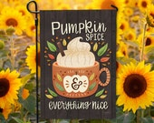Pumpkin Spice and Everything Nice Garden Flag - DOUBLE SIDED - Ready to Ship - Harvest Autumn PSL Welcome Flag - Yard Decor Hennel Paper Co