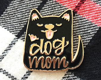 Dog Mom Enamel Pin Black - Gift for her - Best friend gift - Dog Pin - Dog Enamel Pin - Dog Brooch Pin - Dog lapel pin