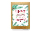 Holiday Card Set - Boxed Set - Merry Christmas & A Very Happy New Year - Holiday Card Pack - Christmas Card Set - Christmas Card Pack