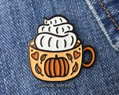 Fall Enamel Pin - Autumn Enamel Pin - Pumpkin Spice Latte Pin - Pumpkin Spice and Everything Nice - Hennel Paper Co.