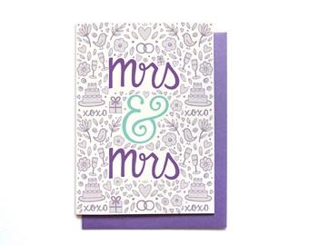 Lesbian Wedding Card - Mrs & Mrs - Wedding Congratulations - bridal shower card - gay wedding - LGBT wedding card - same sex wedding card