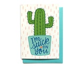 Funny Love Card - Stuck on You - Anniversary Card - Cactus Love Card - Love card him - Funny Valentine - LV31