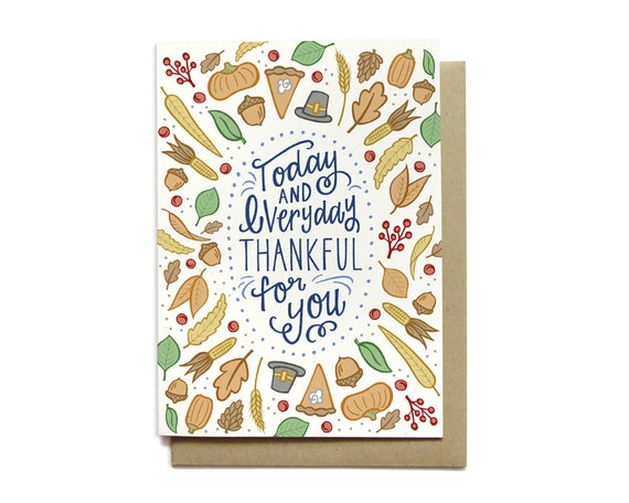 Thanksgiving Card - Thankful for You - Harvest Card - Thankful Card - Happy Thanksgiving Card - Give Thanks - Grateful Card