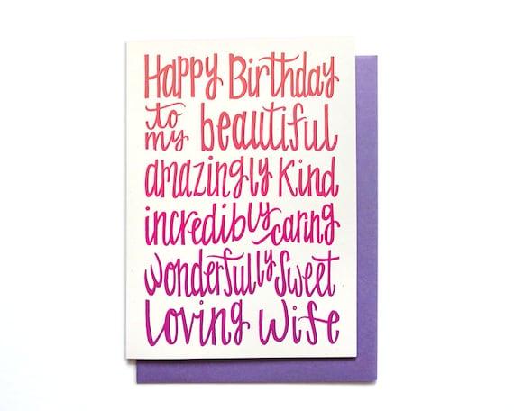 Extreem Vrouw Card gelukkige verjaardag aan mijn mooie vrouw | Etsy @AP73