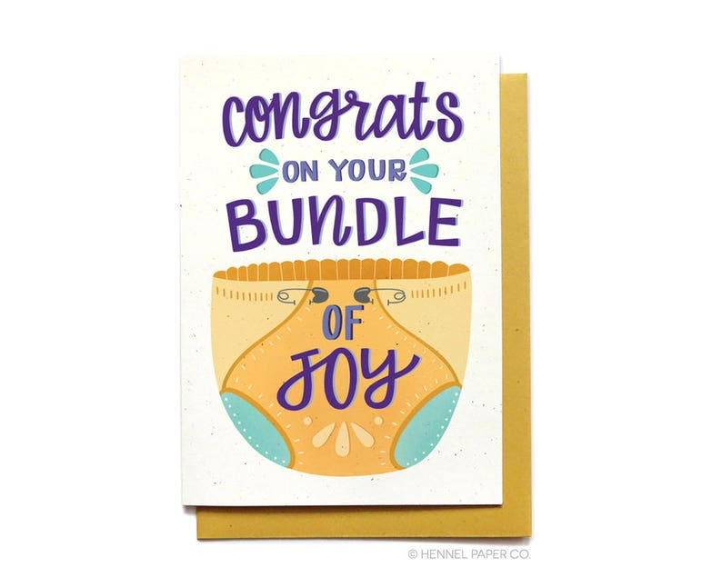 Cute Baby Shower Card Bundle Of Joy Expecting Baby Etsy