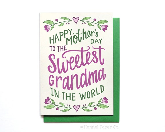 Grandma Mothers Day Card Floral Sweetest Grandma In The Etsy