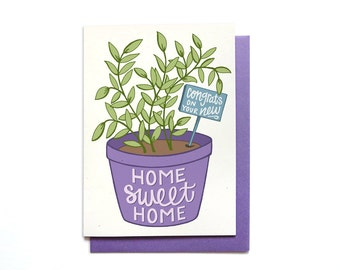Housewarming Card - Home Sweet Home - New House Card - Housewarming Gift - Housewarming Plant - New Home Card