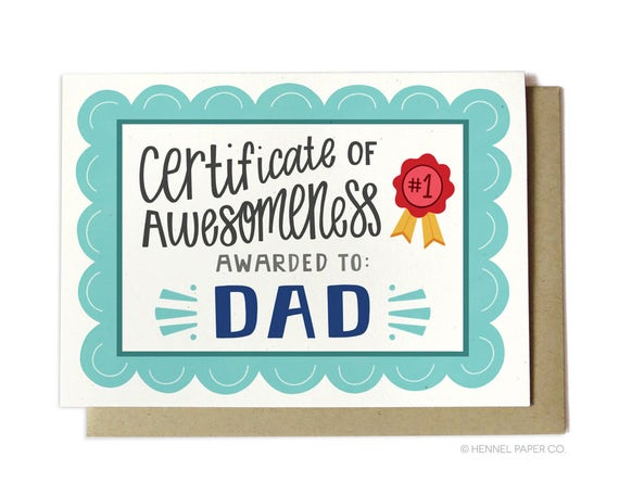 Items similar to Awesome Dad Birthday Card - Certificate of ...