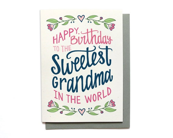 Grandma Birthday Card Sweetest Grandma In The World Etsy