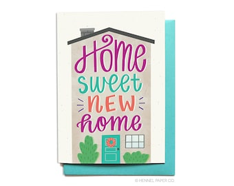 Housewarming card - Home Sweet New Home - New House Card - Moving Card - Hennel Paper Co. - CG14