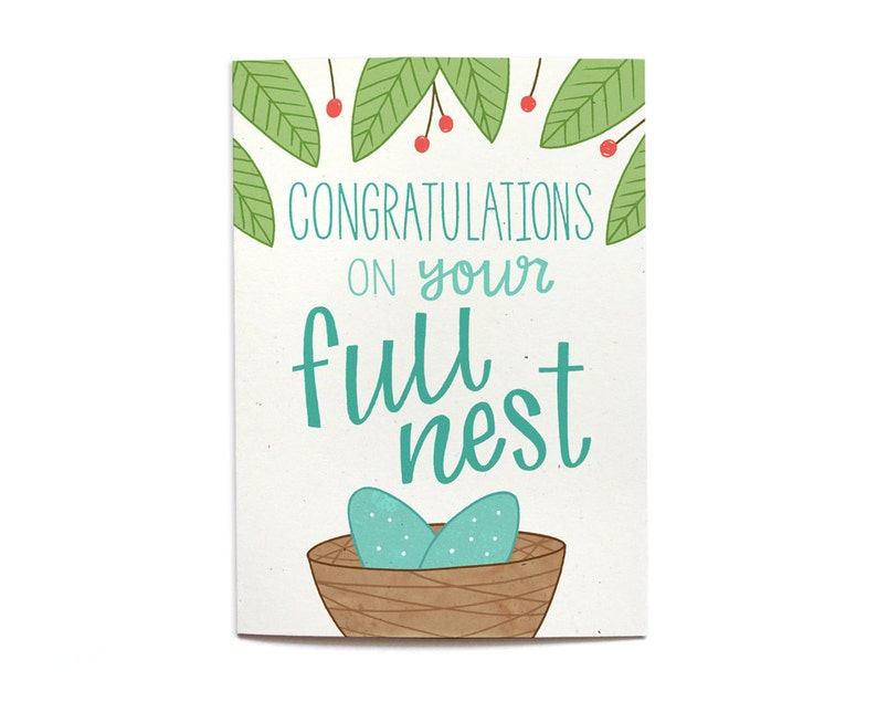 Expecting Card New Baby Card Twins Card Congrats on your Full Nest BA7 Congrats new baby Baby Shower Card welcome baby