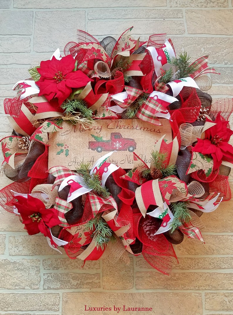FREE SHIPPING Rustic Christmas Wreath with Red Truck Sign Red Truck Winter Wreath Deco Mesh Merry Christmas Wreath Holiday Decor Wreath