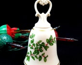 Vintage LENOX Bell China Bell Holly Bell Porcelain Bell 24k Gold Made in the USA Collectible Bell Mint Condition Signed Label Gifts for Her