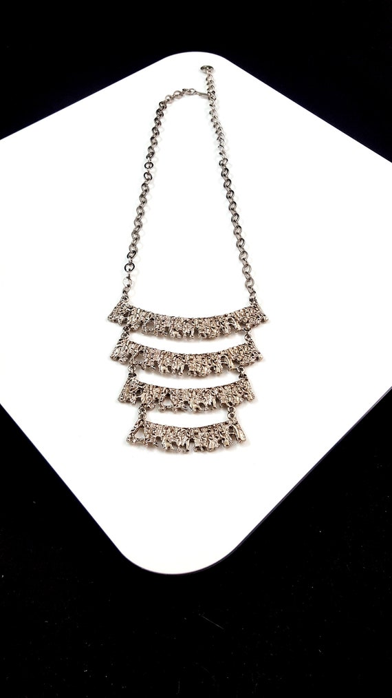 Vintage Celebrity Necklace Brutalist Necklace Silv