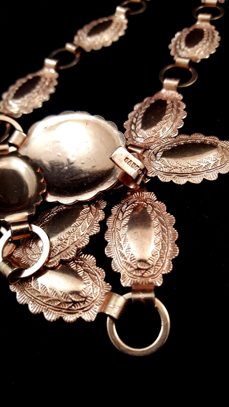 Vintage SANFORD Belt Sancrest Belt COPPER Concho Belt Southwest Native Gifts For Her Copper Jewelry Repousse FABULOUS Western Flair Like New