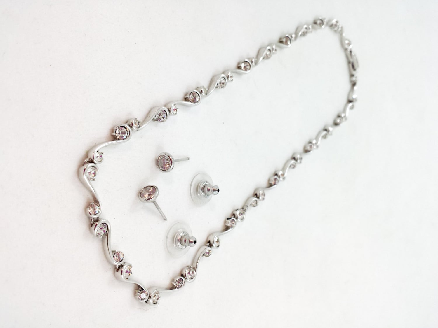 e613a63d8b45e NADRI Necklace Signed SWAROVSKI Crystals Choker Sterling Silver Earrings  925 WEDDING Set