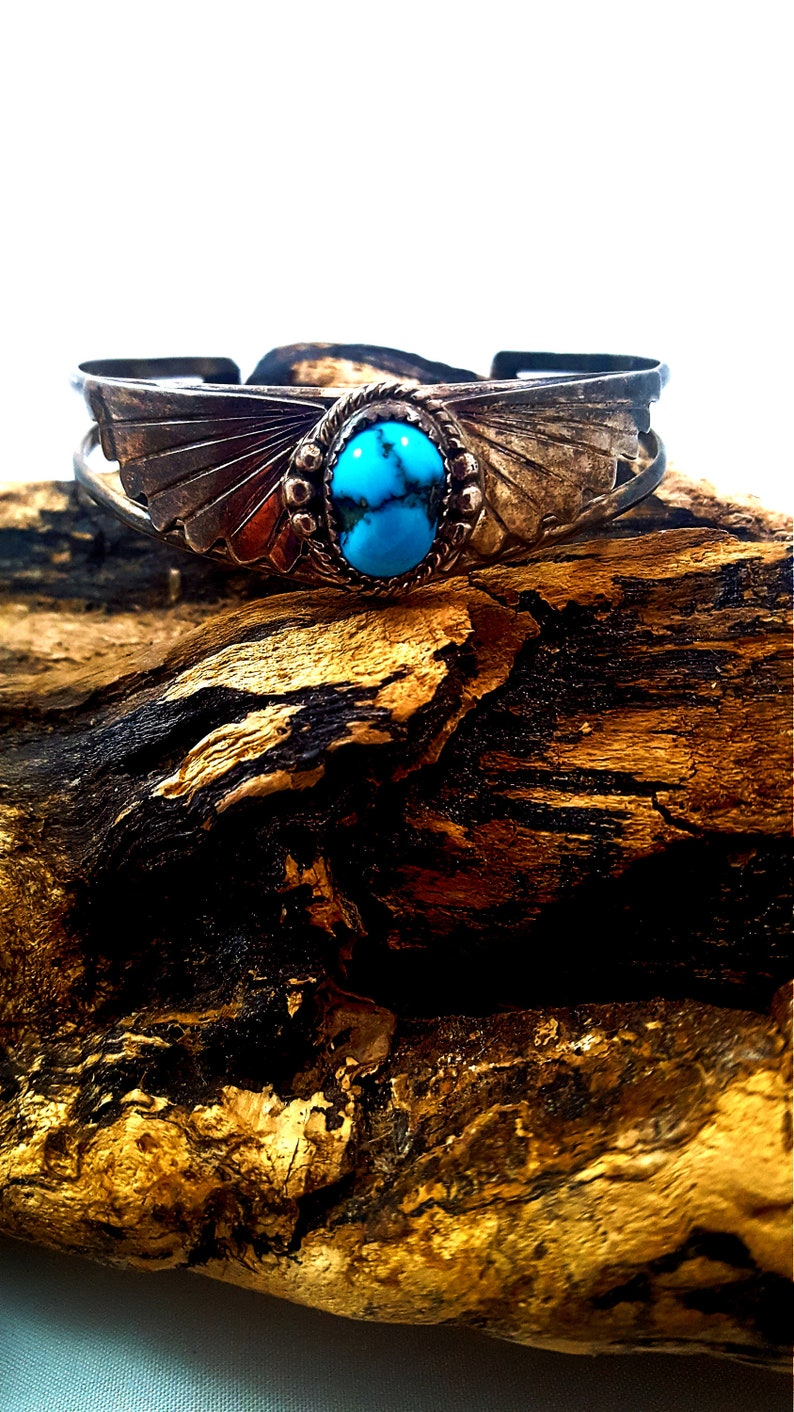 Vintage TURQUOISE Cuff  Sterling Silver Cuff Native Cuff Old Pawn Cuff Southwestern Country 925 BISBEE Turquoise Gifts For Her Tested WOW