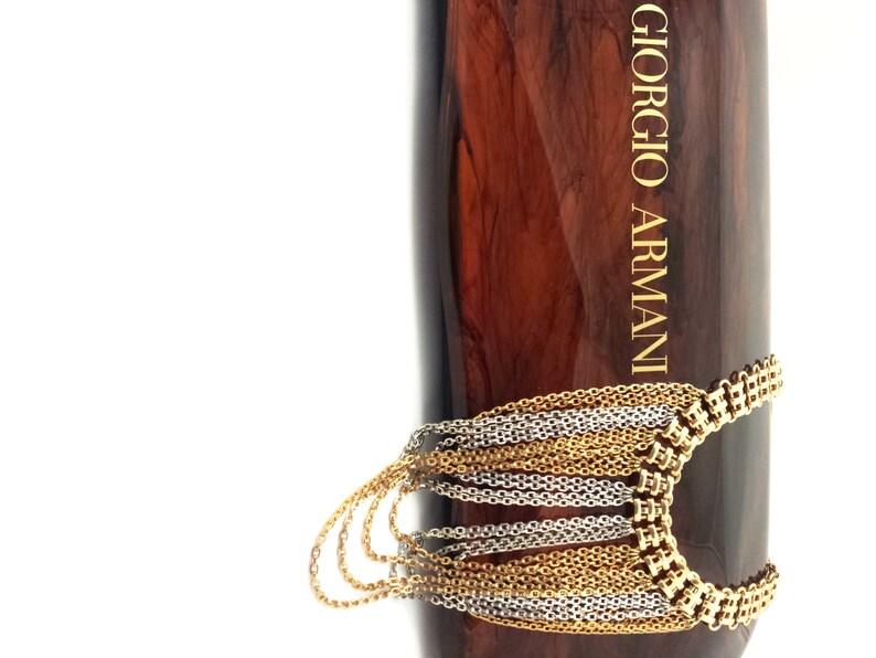 98a77bb659 Vintage Napier Necklace MASSIVE Bib Choker Collar Necklace Two Tone Book  Chain DRIPPY Excellent STATEMENT Piece