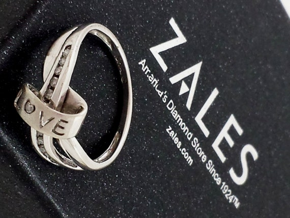 Vintage Zales Diamond Ring 10kt Gold Ring Love Ring White Gold Etsy