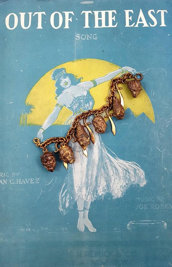 Vintage Charm Bracelet Gold Gilt Brass Bracelet He
