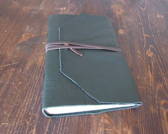 Woodland. Green leather wrap journal/sketchbook