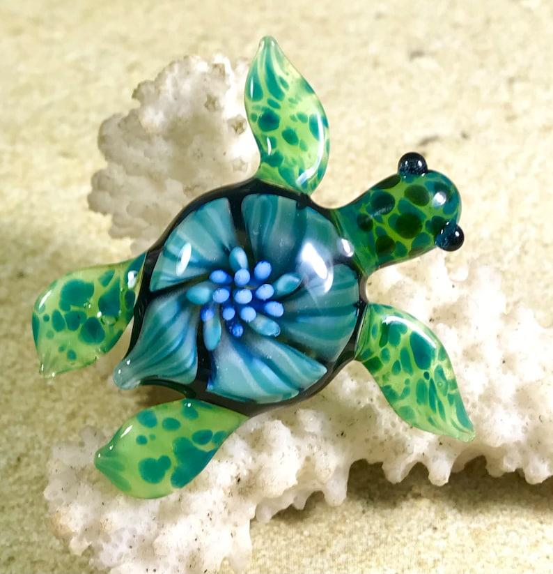 Baby sea turtle necklace glass beads pendant Handmade custom jewelry Lampwork beads Glass flowers Boro beads