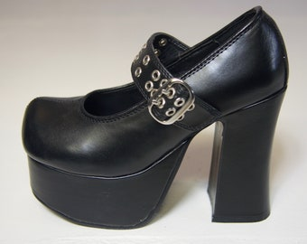 909cca92ebe Vintage Demonia Mega Platforms - Mary Janes Faux Leather Vegan - Cyber Goth  Y2k Chunky