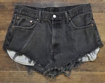 "Vtg Black Levis Shorts -  36"" Wiast - Cut off Denim Mini Shorts Acid Wash 80's Black Denim Large Medium - Red Tab"
