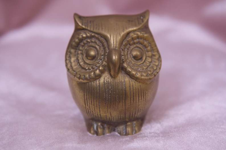 Collector Vtg 70/'s Brass Owl Paper weight