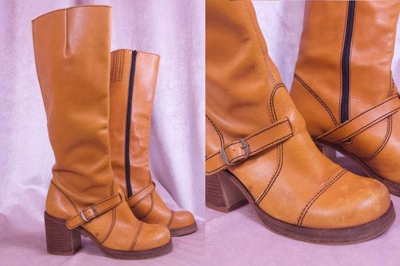 Vtg Knee High 70's Leather Boots - Block heel chun
