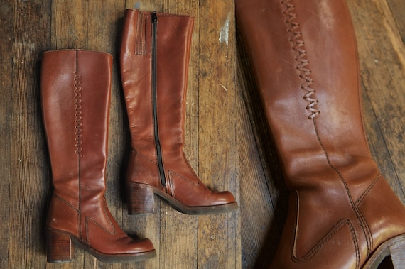 s cuir bottes ' Zip up en Orange talon s 70 Marron 6 1970 Retro 5 Hautes EwXgnqRHHt