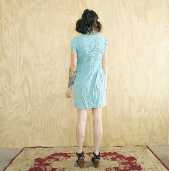 Sale Vtg 50s Powder Blue Lace Dress Wiggle Blue Small Vintage Dress