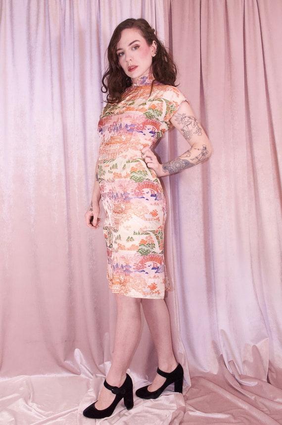 Pink Brocade Ombre Cheongsam Dress Vintage - 50's… - image 3