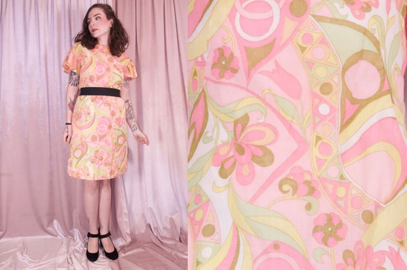 60's Psychedelic Print Pastel Dress - Ruffle slee… - image 1