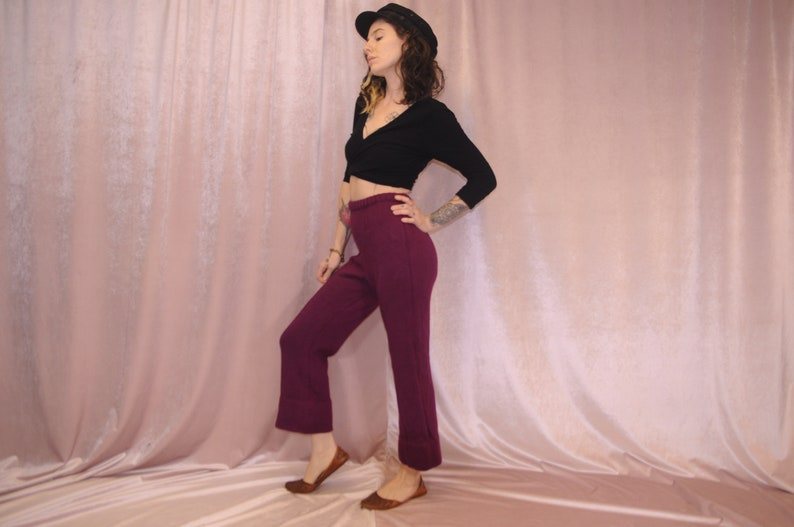 high water Thick Wool 70/'s High waist Vintage Mod pants Maroon Red Wine made in Italy Burgundy Knit Wool