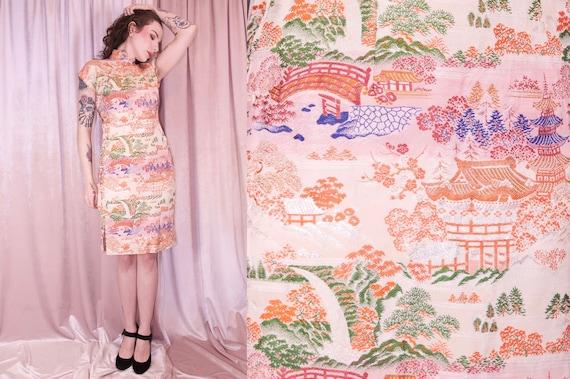 Pink Brocade Ombre Cheongsam Dress Vintage - 50's